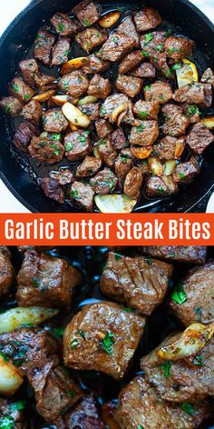 Steak Bites - garlic butter steak bites with spice marinade. The beef bites are so juicy, tender, and takes only 10 minutes to make. Pair well with potatoes for dinner tonight! Steak Dinner Recipes, Meat Recipes, Cooking Recipes, Beef Steak Recipes, Tender Steak Tips Recipe, Recipes For Round Steak, Dinner Ideas With Steak, Ideas For Dinner Tonight, Sizzle Steak Recipes