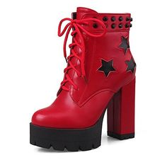 AmoonyFashion Womens HighHeels Soft Material Lowtop TwoToned Laceup Boots Red 40 -- You can find more details by visiting the image link.(This is an Amazon affiliate link and I receive a commission for the sales) #WomensMidCalfBoots
