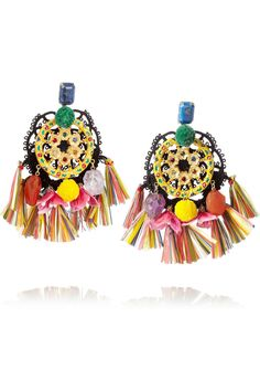 Dolce & Gabbana | Ruota Carretto gold-plated tasseled clip earrings | NET-A-PORTER.COM