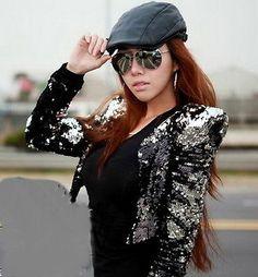 Lady Women Sparkle Sequin Spangle Power Shoulder Blazer Coat Jacket Silver YF02B