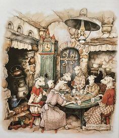 Anton Pieck (The Wolf and the 7 kids) Anime Comics, Anton Pieck, Realistic Paintings, Dutch Painters, Wolf, Dutch Artists, Vintage Artwork, Conte, Cute Illustration