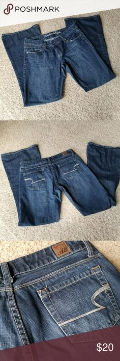 AMERICAN EAGLE Jeans Real Flare size 6 regular jeans with a low rise in excellent used condition.  No holes or fraying.  From a smoke and pet free home.   Measurements while laying flat: Inseam: 31 inches  Waist: 15 inches. American Eagle Outfitters Jeans