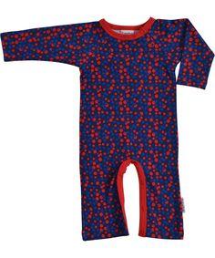 Baba Babywear mooi blauw speelpak met rode stipjes. baba-babywear.nl.emilea.be