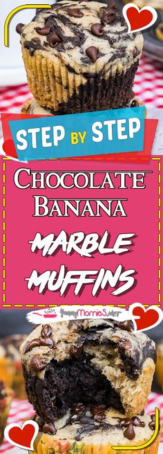 Chocolate Banana Marble Muffins Via #yummymommiesnet #dessertrecipes dessert recipes easy #recipeoftheday recipe of the day #recipeideas recipe ideas #dessert dessert ideas #desserttable dessert table ideas #appetizer appetizer recipes easy