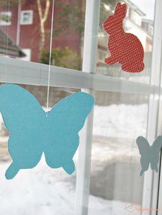 Hasen,Schmetterlinge Fensterdeko (Stoffsymphonie)
