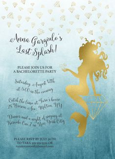 Last Splash Bachelorette Party Invitation, Mermaid and Diamonds, Mermaid Bachelorette Party, 5x7 or 4x6 Printable
