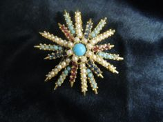 Vintage Rhinestone Gold Pin Brooch Mod Retro Daisy Flower Pearl Turquoise Red