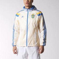 adidas Men's Sweden Anthem Track Jacket S White / Yellow Cab / Dark Indigo / Air Force Blue #jacket #adidas #men #covetme