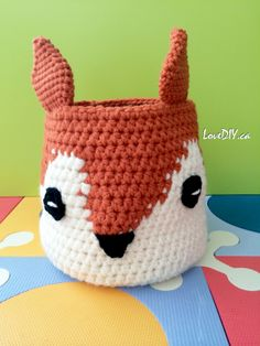 Foxy Stash Basket - Made by LoveDIY.ca Pattern by Lily / Sugar'n Cream