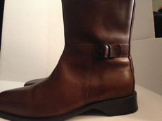 31404a1b60d COLE HAAN Booties Country Brown Leather Zip Buckle Mid Calf #D12161 Size  8.5B #ColeHaanCountry #MidCalfBoots #CasualtoOffice