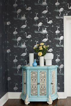 Cole & Son - Contemporary Restyled - Flamingos Wallpaper - 5 Colours Available - Wallpaper & Decor Flamingo Wallpaper, Wallpaper Decor, Print Wallpaper, Black Wallpaper, Wallpaper Online, Beautiful Wallpaper, Animal Wallpaper, Cole Son, Feature Wall Bedroom