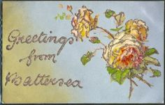 GM082-GREETINGS-from-BATTERSEA-ROSES-PAILLETTES-Fond-argente-SILVER-Belle-LITHO