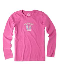 Look what I found on #zulily! Hot Fuchsia 'Flip Out' Long-Sleeve Crusher Tee #zulilyfinds