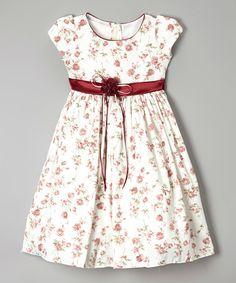 Look what I found on #zulily! Burgundy Rosette Sash Cap-Sleeve Dress - Toddler & Girls #zulilyfinds