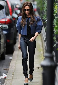 Matching: Victoria also wore a pair of skinny jeans creating a great mother and daughter look
