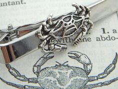 Crab Tie Clip Silver Plated Nautical Sealife By Cosmic Firefly Popular Men's Accessories & Gifts