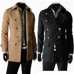 Men Trench Coat Wool Slim Solid Single Breasted Long Sleeve Casual ...