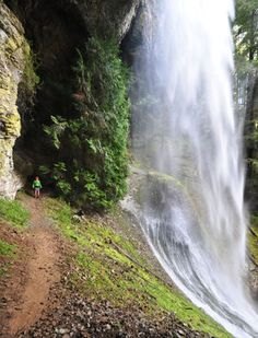 Hikers can walk behind Cathedral Falls, in Mount St. Helens National Volcanic Monument.