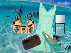 """Outfit  compuesto por vestido de """"Blanco"""", pulsera de """"Parfois"""", clutch de """"Parfois, zapatos de """"New Look"""" y esmalte de uñas de """"Dior."""