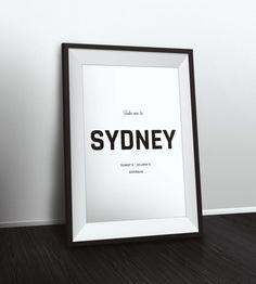 Take me to Sydney coordinates, Sydney decor, Typographic Print, Latitude Longitude Art, Printable Poster, Wall Art, Printable Quote by PetruCreatives on Etsy