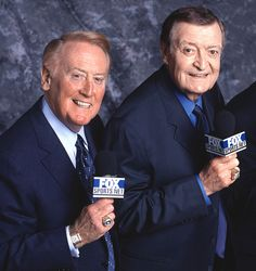 Legendary broadcasters of the Dodgers and Lakers: Vin Scully & Chick Hearn Dodgers Shirts, Dodgers Fan, Dodgers Baseball, Dodgers Today, Dodgers Nation, Baseball Wall, Football, Fox Sports, Sports Stars