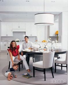 Beautiful White Kitchen with Round Table