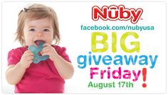 REPIN this photo if you LOVE Nuby Giveaways! Be sure to check our Facebook page Friday, August 17 to see what we are giving away to our awesome fans! :)