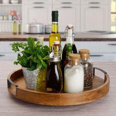 Kitchen Countertop Decor, Kitchen Tray, Farmhouse Kitchen Decor, Home Decor Kitchen, Apartment Kitchen, Kitchen Ideas, Kitchen Storage, Lazy Susan Table, Kitchen Centerpiece
