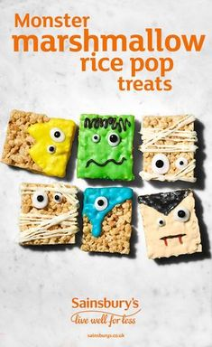 Make monster rice pop Halloween treats with rice pops, marshmallows and white chocolate. Get the kids to create their own monsters with spooky icing and hand them out to hungry trick or treaters Halloween Treats For Kids, Halloween Party Snacks, Halloween Baking, Halloween Desserts, Halloween Cookies, Halloween Birthday, Diy Halloween Decorations, Easy Halloween, Holiday Treats