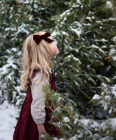 """Cranberry"" Luxe Velvet Oversized Schoolgirl Bow by Free Babes Handmade. Classic bows for your little girls holiday style and beyond. Photo by Wren and James. The perfect hair bow for your baby, toddler or little girl's free spirited style."