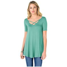 Women's Fashion California FACA Womens Criss Cross Scoop Neck Elbow... ($16) ❤ liked on Polyvore featuring tops, tunics, jade green, tops & tees, blue green tops, elbow sleeve tops, elbow length tops, blue top and criss cross top