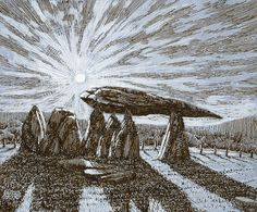 Pentre Ifan, Wales, pembrokeshire, pen and ink, drawing Rob Adams, Cities, Ink, Drawings, Wales, Illustrations, Design, City, Sketch