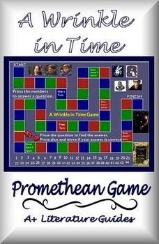 Review for a test using A Wrinkle in Time ActivInspire Promethean Game. There are over 40 questions about characterization, plot, theme, and much more. Virtual dice, moveable game pieces, and electronic questions and answers. Easily add additional questions to suit your curriculum. A great way to review this fantastic book!