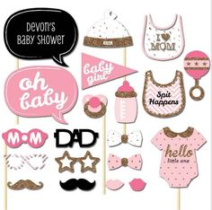 [Visit to Buy] 20pcs Pink DIY Mustache Babies Show Shower Birthday Baptism Kid Girl Decoration Paper Festive Party Supplies Favors Photo Props #Advertisement
