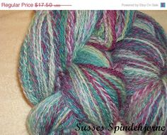Spring Sale Handspun, Hand Dyed Soft  Lace Yarn -  Falkland Wool in Clear Purple and Teal Colors