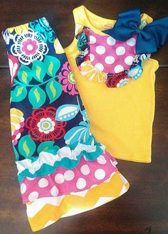 NeW OUTFiT PiNK NaVy YeLlow BRiGht FuN SPRiNg SuMmer Girl Baby Toddler Ruffle Pants 12m 18m 24m 3T 4T 5T Birthday Party