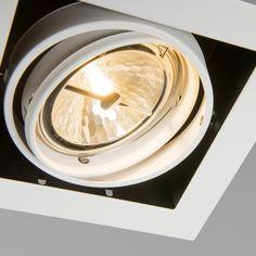 Einbaustrahler Oneon 111-1 weiß: Top Designer Einbaustrahler mit Kardangelenk Verstellung. Geeignet für die gängigen AR111 Halogen und LED Leuchtmittel. Mit schöner Pulverbeschichtung abgearbeitet für hochwertige Anmutung. #einbaustrahler #innenbeleuchtung #schwenkbar #Beleuchtung