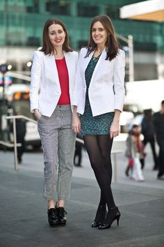 Our fashion market editor Becky Malinsky and her sis Amy show off the menswear-inspired trend 2 different ways