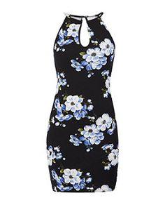 Black Pattern (Black) Black Floral Print Keyhole Bodycon Mini Dress | 325195709 | New Look