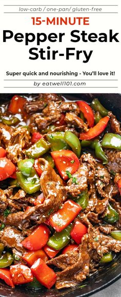 Pepper Steak Stir-Fry - - You'll love this pepper steak stir-fry recipe: A restaurant-quality dinner that you can make in less than 20 minutes, using simple and fresh ingredients. Quick Beef Recipes, Meat Recipes, Asian Recipes, Chicken Recipes, Cooking Recipes, Healthy Recipes, Stir Fry Recipes, Sausage Recipes, Cooking Tips