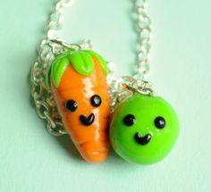 Kawaii Miniature Pea and Carrot Best Friend by PumpkinPyeBoutique