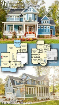 Architectural Designs Modern Farmhouse House Plan 30057RT - like the upstairs shared baths
