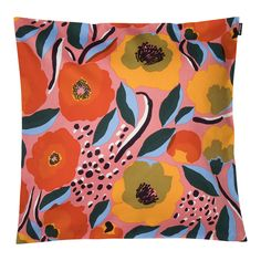 Made from a cotton, this cushion cover features the pink, blue and red Rosarium pattern. The cover has a concealed zipper on one side.The Rosarium design captures a rose garden where the fullest bloom will soon be over. Petals are already comi Cushion Pads, Cushion Covers, Red Sign, Rose Varieties, Marimekko, Red Fabric, Goods And Service Tax, Home Textile, Pink Blue