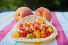 Shrimp taco with fresh grilled peach salsa.