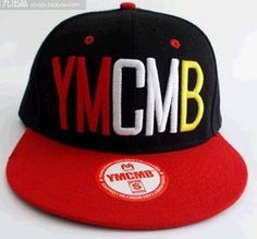 YMCMB Hip-hop hip-hop cap flat along MY dollars obey YMCMB spell color flat-brimmed  hat along the cap plate (black with red) 3199357e11a8