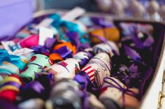 Socks as favours! >> Purple, Turquoise and Button Themed Wedding