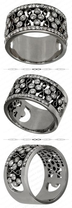 Diamond Band In White Gold Featuring A Victorian Style With Milgrain Accents Antique Wedding Bands, Antique Engagement Rings, Diamond Engagement Rings, Diamond Bands, Diamond Wedding Bands, Diamond Cuts, Marquise Cut Diamond, Victorian Fashion, Vintage Shops