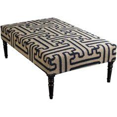 Surya FL1011 Wool Upholstered Rectangular Ottoman, Black, Size Large