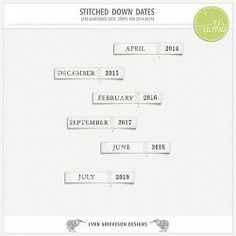 Stitched Down Dates, digital scrapbooking date tags by Lynn Grieveson at The Lilypad