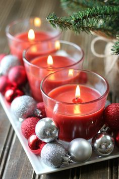 Follow this tutorial for an easy DIY holiday centerpiece made with Glade holiday candles!